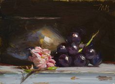 daily painting titled Still life with rose, grapes and pewter bowl - click for enlargement