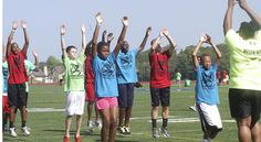 Teddy Williams conducts football camp.    Its great to see Teddy giving back to the community.