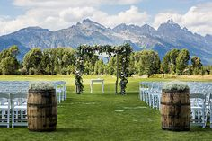 Natural-Chic Destination Wedding in Jackson, Outdoor Wedding Ceremony Altar | Brides.com