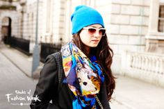 Ombre lenses work back with blue accents. Seen during London Fashion Week. #ShadesOfFashionWeek #sunglasses