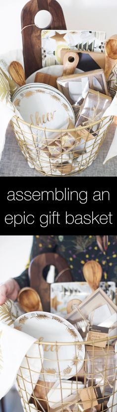 How to put together an epic gift basket for the holidays and beyond! Cost Plus W… How to put together an epic gift basket for the holidays and beyond! Cost Plus World Market Christmas Baskets, Diy Christmas Gifts, Holiday Gifts, Homemade Christmas, Bridal Shower Gifts, Bridal Gifts, Wedding Gifts, Diy Gift Baskets, Raffle Baskets