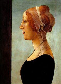 Сандро Боттичелли.  1482 Portrait de jeune femme Detrempe sur panneau 48x35,5 cm