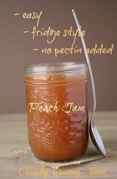 Peach Jam (fridge style) Summer in a jar!  Perfect way to enjoy bruised or over-ripe peaches.  No pectin added.  Easy & delicious!