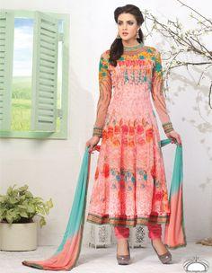 Peach & Rama Color Georgette based Semi Stitch Dress Material - JustKartIt