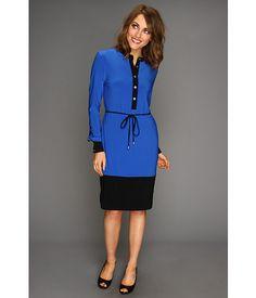 Calvin Klein Colorblock Shirt Dress Ultramarine - Zappos.com Free Shipping BOTH Ways