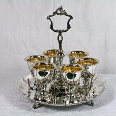 Antique Very Fine Sterling Silver 6 Cup Egg Cruet