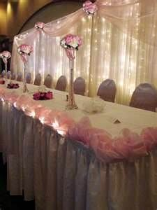 Image detail for -wedding voile backdrop with coordinate head table skirts- Get this look for less! great DIY ideas