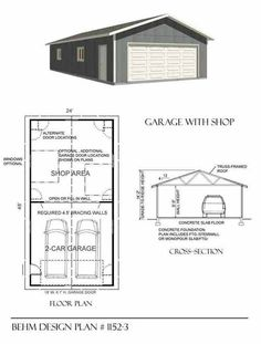 Two Car Garage With Shop Plan 1152-3  24' x 48' by Behm Design
