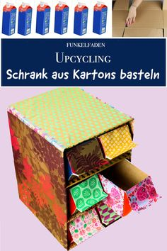 Upcycling – DIY Anleitung Regal aus Tetra-Packs und Kartons basteln Upycycling Instructions – Crafting with Tetra Packs and Boxes – Crafting Instructions for a Cabinet of Cardboard Boxes and Milk Cartons – Simple for crafting with children / sustainable / Upcycled Crafts, Diy And Crafts, Paper Crafts, Tetra Pack, Carton Diy, Diy Karton, Craft Online, Diy Cardboard, Cardboard Cartons