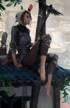 Rooftoops, an art print by Camila Vielmond - INPRNT Female Character Design, Character Concept, Character Art, Concept Art, Fantasy Inspiration, Character Inspiration, Fantasy Characters, Female Characters, Photoshop Art