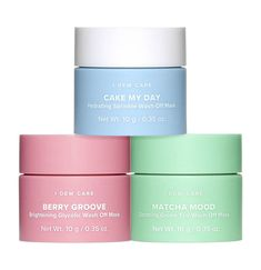 New I Dew Care Mini Scoop Wash-Off Face Mask Trio! Cake My Day Nourishing Sprinkles, Matcha Mood Soothing Green Tea & Berry Groovy Antioxidant Rich Raspberry! Hair And Beauty, Beauty Skin, Face Beauty, Beauty Products Gifts, Best Makeup Products, Skin Care Products, Face Mapping, Face Mask Set, Face Mask Skin Care