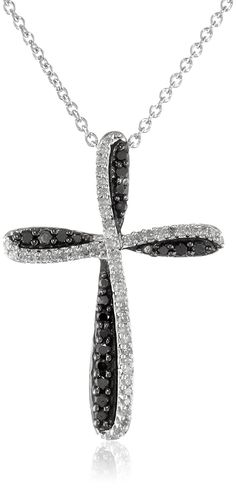 Sterling Silver Black and White Diamond Cross Pendant Necklace (1/3 cttw), 18' >>> Check this awesome product by going to the link at the image.