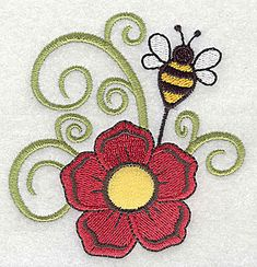 Flower applique with bee Machine Embroidery Design or Pattern #Applique #MachineEmbroidery #EmbroideryDesigns #Embroidery #EmbroideryLegacy #insect  #flowers