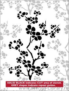 Вишневый цвет 5 - Трафареты для декора :: Япония - купить с доставкой без предоплаты :: изготовление трафаретов для стен под покраску по каталогу и на заказ