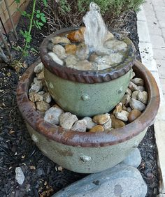 soothing-garden-fountain-2  DIY flower pot fountain that is perfect for a quiet corner.