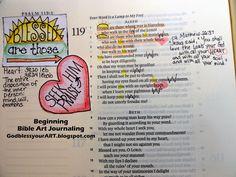 Beginning; bible; art journal; psalm 119; tutorials; godblessyourART.blogspot.com