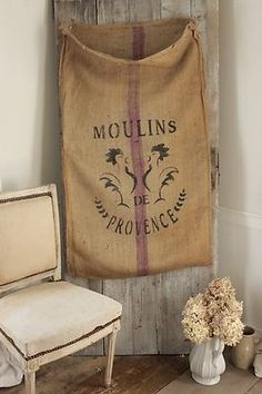 Vintage French Grain Sack Burlap