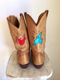 Hand Painted Vintage Cowboy Boots Sz 8.5