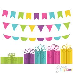 Free Bunting Banner Clip Art | Vector Clip Art Presents and Bunting