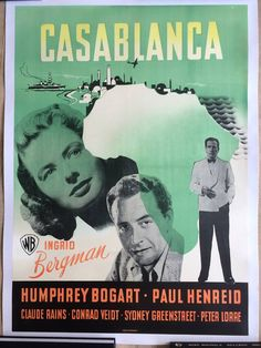 'Casablanca' danish poster Ingrid Bergman Humphrey Bogart