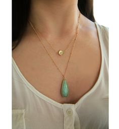 Amazonite Teardrop Necklace Set in 22k Gold Vermeil by CateKatan