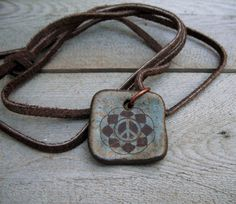 Peace Ceramic Pendant  Agate Green Brown Earthy by CropCircleClay