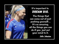 """Soccer Motivation Poster Julie Johnston Photo Quote Wall Art 5x7""""-11x14"""" Amazing What You Can Do If You Put You Mind To It & Push Yourself by ArleyArt on Etsy"""