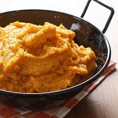 Garlic Sweet Potato Mash- it's never too early to start thinking of this year's Thanksgiving menu!