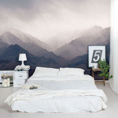 """The """"Mountain Mural"""" Bedroom Makeover — From the Archives: Greatest Hits Dream Bedroom, Home Bedroom, Master Bedroom, Bedroom Decor, Bedrooms, Wall Decor, Diy Wall, Bedroom Ideas, Mountain Mural"""
