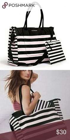VS STRIPED TOTE Large size weekender with mini bag! Comes with a big shoulder strap as well as handles. Love how huge this bag is but I just don't use it! Great condition but not NWT.   No trades, sorry! Negotiate through offers 💕🌻 Victoria's Secret Bags