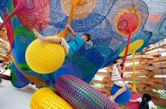 Meet the Artist Behind Those Amazing, Hand-Knitted Playgrounds Wonder Space II, by Toshiko Horiuchi MacAdam and Interplay, at Hakone Open Air Museum. Takaharu Tezuka, Cool Playgrounds, Architectural Sculpture, Playground Design, Playground Ideas, Outdoor Playground, Interactive Art, Outdoor Sculpture, Yarn Bombing