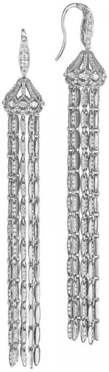 Tacori Vault Style Beautiful strands of white gold embedded with brilliant diamonds cascade down from white gold and diamond embdedded chandelier tops ♥✤ | KeepSmiling | BeStayBeautiful