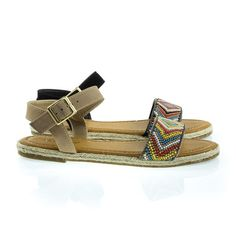 About This Shoes :These open toe flat sandal features a small espadrille platform, adjustable ankle strap, tribal inspired multi colored beads in diamond formation. Brand - Bamboo