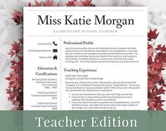 Creative Teacher Resume Template For Word Us Letter And A4 1 3