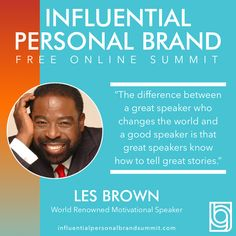 Catch this warm and inspiring interview between Rory Vaden and the amazing Les Brown and his equally inspirational daughter, Ona Brown on the #influentialpersonalbrandsummit. So good!  Les Brown is a dynamic personality and one of the world's most renowned motivational speakers. As a leading authority on achievement he has spoken for individual audiences as large as 80,000--- energizing people to meet the challenges of the world around them. Building A Personal Brand, Great Speakers, Radio Personality, Brand Strategist, Les Brown, Keynote Speakers, Instagram Influencer, Great Stories, Personal Branding