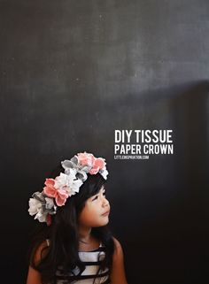 DIY Tissue Paper Crown A simple and inexpensive way to create a beautiful crown is with Tissue Paper. Making flowers out of tissue is kind o. Origami, Tissue Paper Flowers, Diy Flowers, Diy For Kids, Crafts For Kids, Paper Crowns, Idee Diy, Cool Ideas, Photography Props