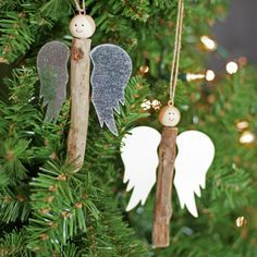 Craft cute angels with rustic style sticks - Christmas Crafts Diy Homemade Christmas, Christmas Angels, Rustic Christmas, Christmas Crafts, Christmas Ornaments, Christmas Ideas, Angel Crafts, Holiday Crafts, Holiday Decor