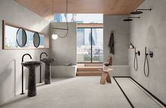 Stone-look tiles in porcelain stoneware for floors and walls, ready to bring an ultra-chic touch to indoor and outdoor furnishings. Stone Look Tile, Holiday Accommodation, Commercial Interiors, Porcelain Tile, Accent Colors, Indoor, Ceiling Lights, Flooring, Industrial