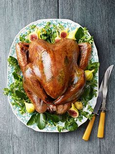 Sage-Butter Roasted Turkey: A citrus brine guarantees this bird is tender and moist..