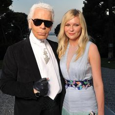 Karl Lagerfeld and Kirsten Dunst at the amFAR Gala in Cannes