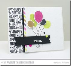 Birthday Bears, Birthday Wishes & Balloons, Spotlight Sentiments, Birthday Wishes & Balloons Die-namics, Blueprints 12 Die-namics, Split Diagonal Stencil, Star Celebration Stencil - Barbara Anders  #mftstamps