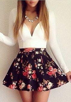 White Floral Patchwork V-neck Low-Cut Dress - Mini Dresses - Dresses