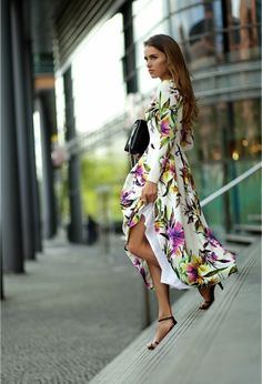 Tropical white long dress @roressclothes closet ideas #women fashion outfit #clothing style apparel