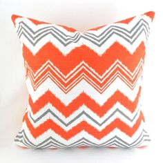 Pillow Cover Any Size Orange Grey and White  by MyPillowStudio, $15.00