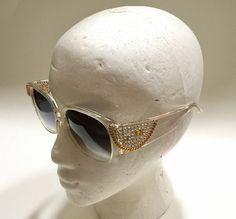 a486065ce9ce Emmanuelle Khanh Sunglasses Crystals Chain Handmade Paris Clear Frame