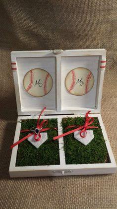One of a kind distressed sporty ring box, wedding decor , Texas rangers, Atlanta braves baseball  on Etsy, $32.99