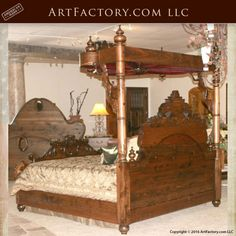 Hand Carved King Or Queen Bed Of Solid Wood With Gold Leafs Decors From A Castle Distinctive For Its Traditional Properties Beds Antique Furniture