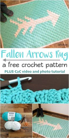 A free crochet pattern for a modern C2C rug perfect for updating your decor!  Bright colors make this rug perfect for spring and summer.  A great pattern for learning to crochet with video and photo tutorials to help you create this DIY project. @yarnspi