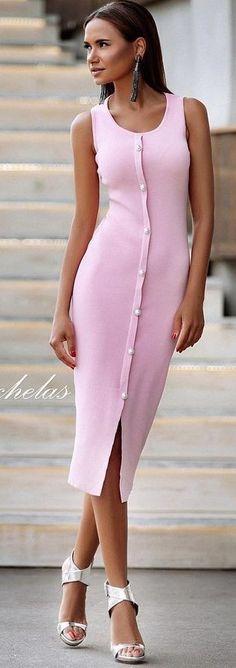 #summer #chic #feminine #style | Pink Shirt Dress