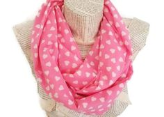 Pink White Heart Infinity Scarf Circle Scarf Women by HeraScarf, $21.90